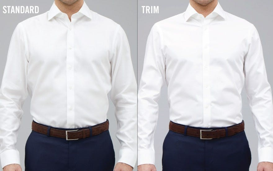 Front view for show difference between Standard and Trim Fit shirt after wear