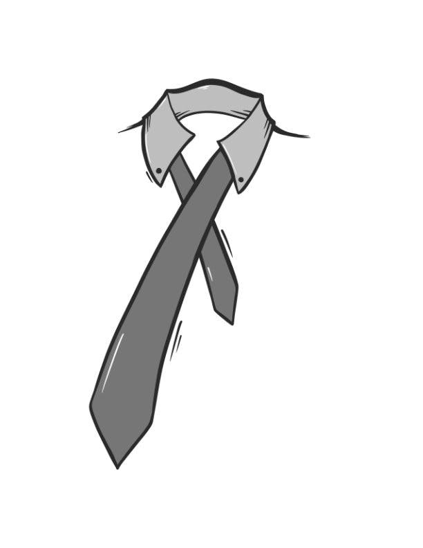"Step first for Windsor Knot, The wide end ""A"" should extend about 12 inches below the narrow end ""B"""