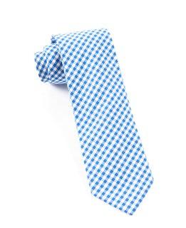 Novel Gingham Serene Blue Tie