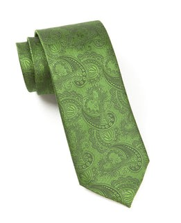 Twill Paisley Clover Green Tie