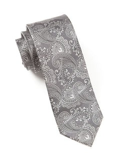 Twill Paisley Charcoal Tie