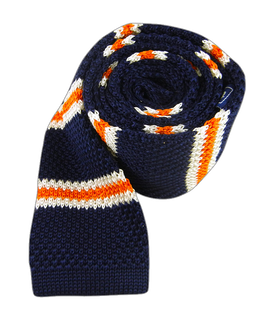 Knit Country Stripe Navy Tie