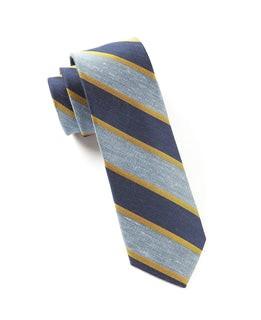 Linen Bold Stripe Baby Blue Tie