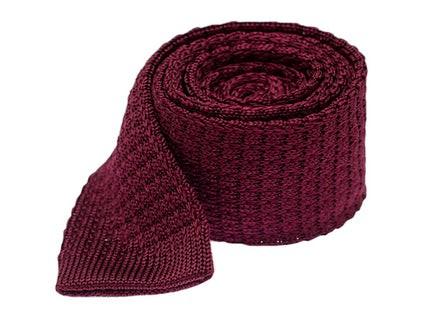 Textured Solid Knit Deep Burgundy Tie