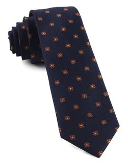 Primrose Flowers Tangerine Tie