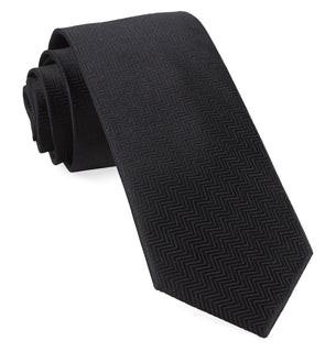 Herringbone Black Tie