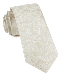 Twill Paisley Light Champagne Tie
