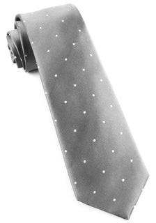 Satin Dot Silver Tie