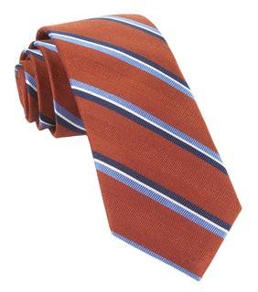 Short Cut Stripe Burnt Orange Tie