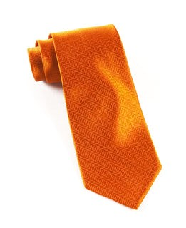 Herringbone Burnt Orange Tie