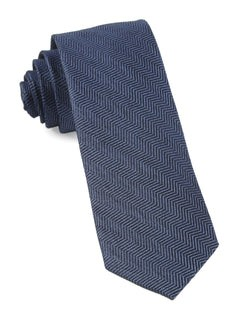 Verge Herringbone Navy Tie