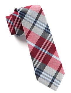 Crystal Wave Plaid Red Tie