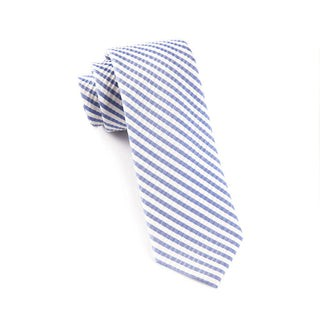 Silk Seersucker Stripe Periwinkle Tie