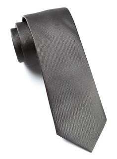 Grosgrain Solid Titanium Tie