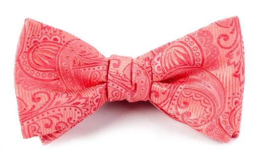 Twill Paisley Coral Bow Tie