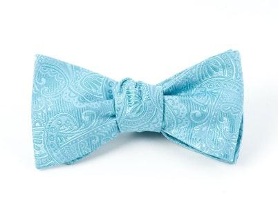 Twill Paisley Aqua Bow Tie