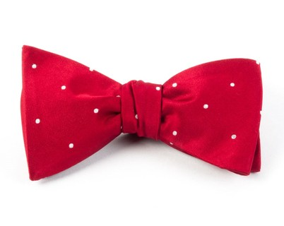 Satin Dot Red Bow Tie