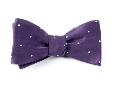 Satin Dot Eggplant Bow Tie