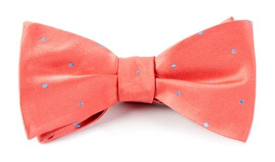 Satin Dot Coral Bow Tie