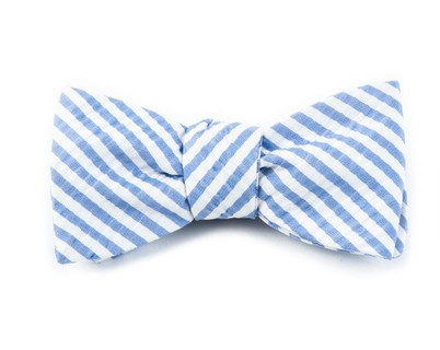 Silk Seersucker Stripe Periwinkle Bow Tie