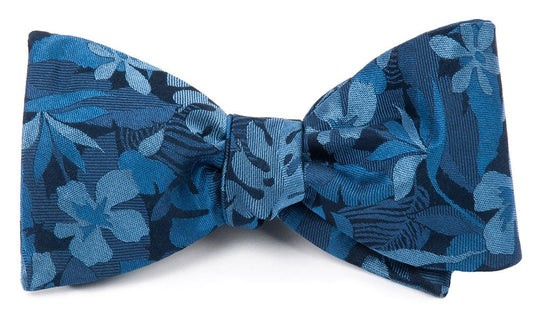 Island Floral Classic Blue Bow Tie