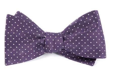 Mini Dots Eggplant Bow Tie