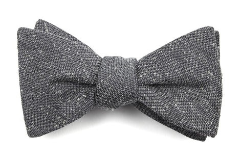 Threaded Zig-Zag Grey Bow Tie