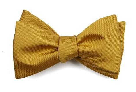 Grosgrain Solid Gold Bow Tie