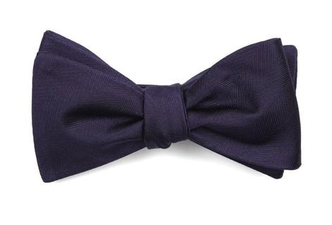 Herringbone Vow Eggplant Bow Tie