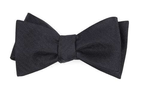 Sound Wave Herringbone Black Bow Tie