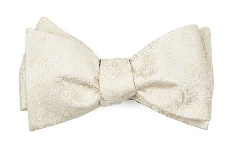 Ceremony Paisley Light Champagne Bow Tie