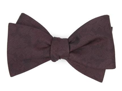 Refinado Floral Burgundy Bow Tie