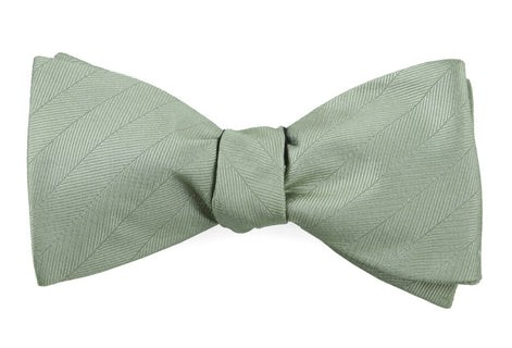 Herringbone Vow Sage Green Bow Tie