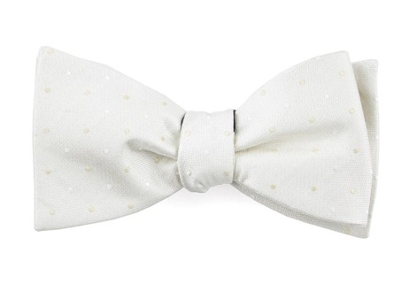 Suited Polka Dots Ivory Bow Tie