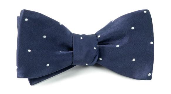 Satin Dot Classic Navy Bow Tie