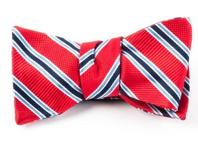 Bella Stripe Red Bow Tie