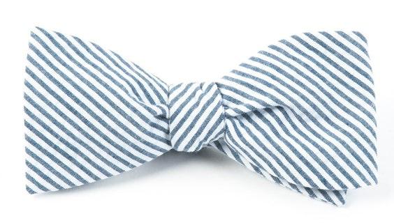 Seersucker Midnight Navy Bow Tie