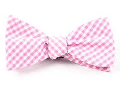 Novel Gingham Pink Bow Tie