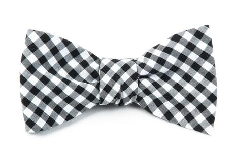 Novel Gingham Black Bow Tie