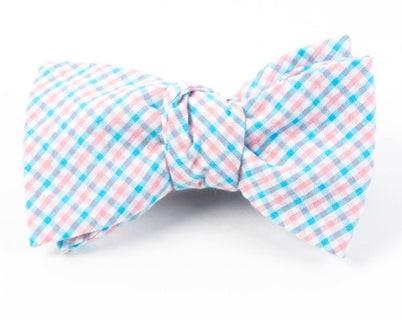 Spring Seersucker Gingham Mystic Blue Bow Tie