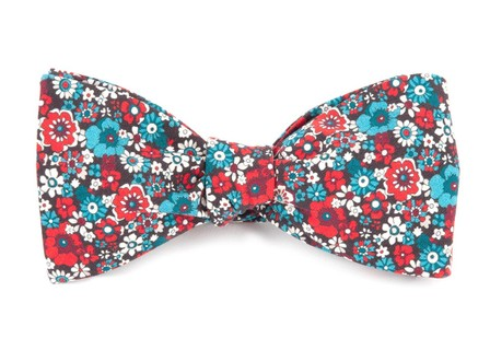 Floral Level Red Bow Tie