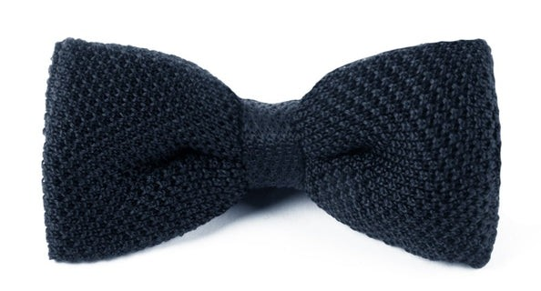 Knitted Midnight Navy Bow Tie