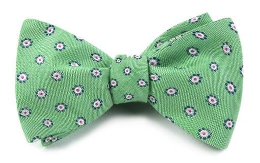 Half Moon Floral Apple Green Bow Tie