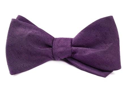 Linen Row Eggplant Bow Tie