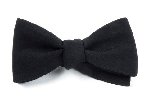 Solid Wool Black Bow Tie