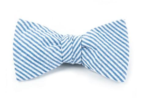 Seersucker Blue Bow Tie