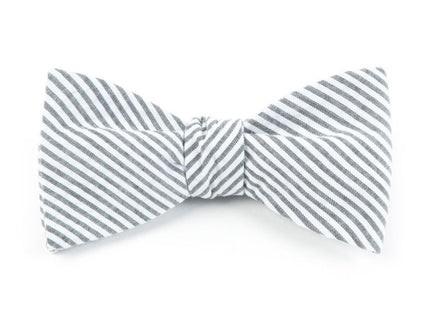 Seersucker Grey Bow Tie