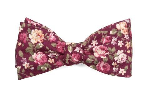 Moody Florals Burgundy Bow Tie