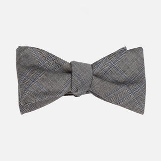 Azur Glen Plaid Grey Bow Tie
