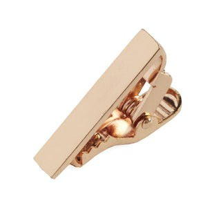 Brushed Straight Rose Gold Tie Bar